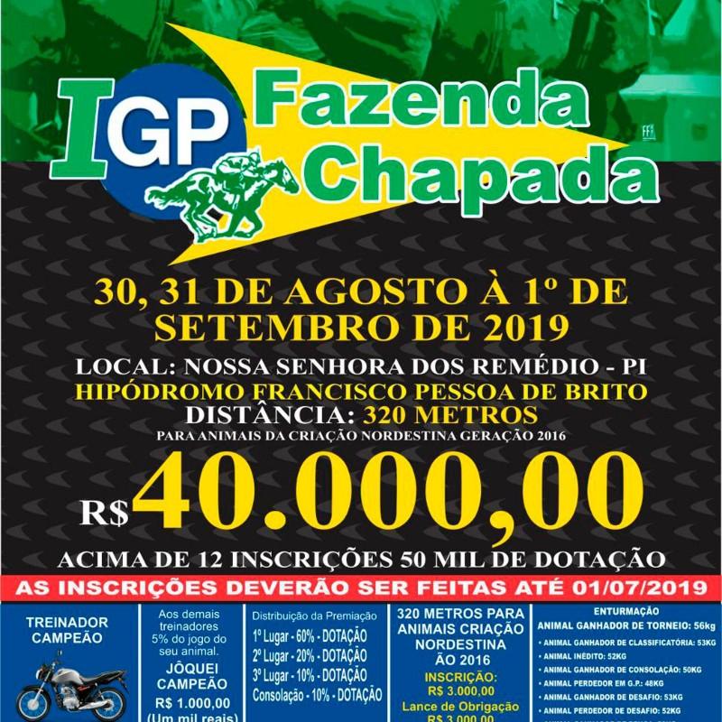 Ler mais sobre I GP FAZENDA CHAPADA - NOSSA SENHORA DOS REMÉDIOS - PI