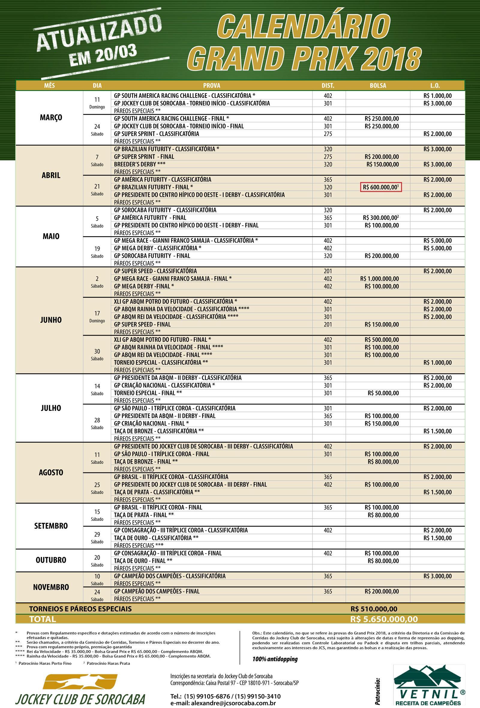 Calendário do Jockey Club de Sorocaba 2018