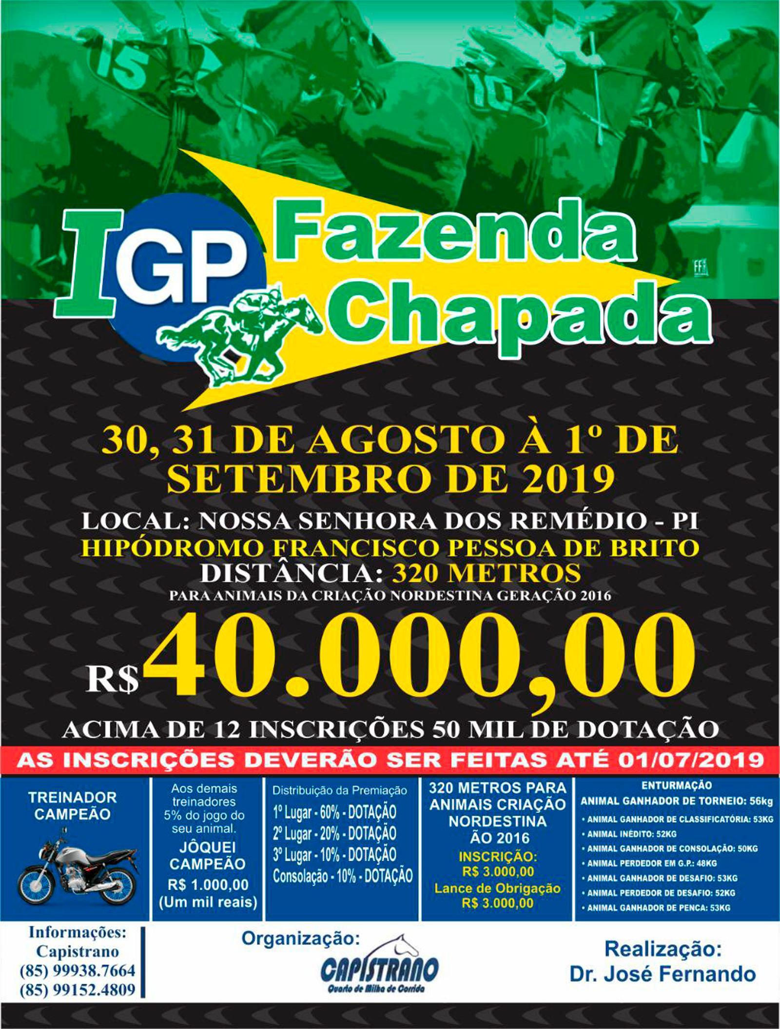 I GP FAZENDA CHAPADA - NOSSA SENHORA DOS REMÉDIOS - PI